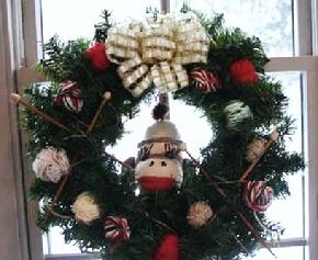 sock  monkey wreath