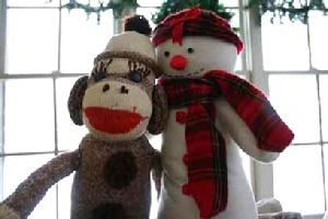 Sock Monkey and Snowman